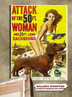 Dachshund Vintage Movie Style Poster Canvas Print  by NobilityDogs,  Heather and Luna!