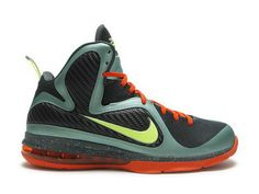 Nike LeBron 9 Cannon   Style Code:469764-004  The Nike LeBron 9 Cannon is featuring a slate blue with dark grey color for entire upper, the toe box is covered with dark grey flywire technology, while the dark grey side is made by fabric material, the slate blue leather is using for lining of the panel. There is also featured with orange shoelaces and outsole. The shoe ends by 180 max air unit sole.