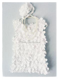 Flower girl dress, Baptism Gown, White Flower dress, Petal dress, Flower headband, Wedding dress, 1st birthday dress, First birthday dress on Etsy, $20.00 AUD