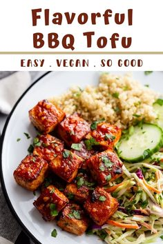 This BBQ Tofu is simple to make and PACKED with flavor! It can be baked or pan fried and both are delicious! Bbq Tofu, Plant Based Diet, Tandoori Chicken, Food For Thought, A Food, Meal Prep, Fries, Vegetarian, Yummy Food