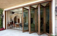 WOODEN FOLDING DOOR (Bi-Fold) Add a practical and attractive feature to any home with wooden patio doors that bring the garden and the interior closer together. Sliding Folding Patio Doors in timber are a perfect combination of natural timber and Modern Exterior Doors, Exterior Doors With Glass, Sliding Glass Door, Exterior Windows, Wooden Bifold Doors, Wooden Patio Doors, Patio Windows, Sliding Windows, Modern Door