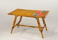 Lot : Roger CAPRON (1922-2006) - Table basse à structure en moëlle de.rotin.. | Dans la vente Regard sur le XXème siècle Paris