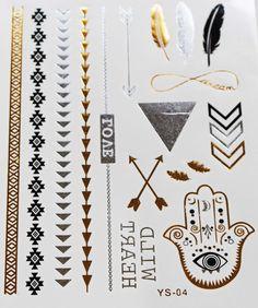 Metallic Temporary Tattoo - Bliss Hamsa Hand and Feathers