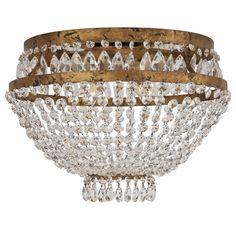 crystal & brass flush mount chandelier