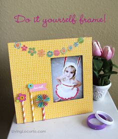 "Easy DIY Frame made with ""Party with Amy Locurto"" Scrapbook Collection by Pebbles."