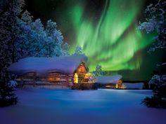 Kakslauttanen Arctic Resort Saariselka, Finland Cabin europe isolation Lodge log cabin night northern lights Outdoors remote snow Winter tree aurora light atmosphere