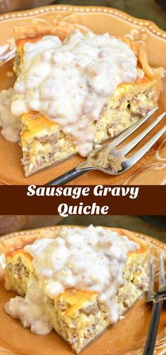 Quiche with Sausage Gravy. Creamy, fluffy sausage quiche made extra comforting b… Quiche with Sausage Gravy. Creamy, fluffy sausage quiche made extra comforting by addition of homemade sausage gravy on top. Breakfast Quiche, Sausage Breakfast, Breakfast For Dinner, Breakfast Dishes, Breakfast Casserole, Breakfast Recipes, Breakfast Enchiladas, Breakfast Ideas, Breakfast Burritos