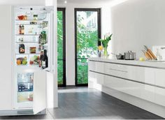 """Liebherr Fully Integrated 24"""" Refrigerator. 24"""" x 24"""" fridge for the 57-60"""" wide galley kitchen's back wall. Gives about 17-20"""" on either side for more counter or pantry storage before hitting the sink's peninsula and the french side-door."""
