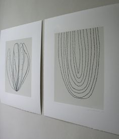 Set of Two abstract monochrome screenprints based on ink drawings of plant forms in charcoal grey and cream. Original and handmade on Etsy