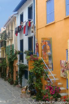 Collioure,  France, with its long narrow alleys, favorite  of artist Henri Matisse