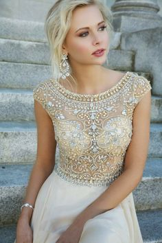 Gold & silver bejeweled top, ivory chiffon gown