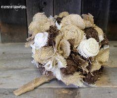 Burlap and Lace Bride's Wedding Bouquet
