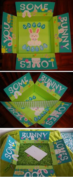 Some Bunny Loves You - Easter care package with a white picket fence divider. Filled half the box for my daughter and filled the other half for her college roommate then covered everything with green Easter grass.