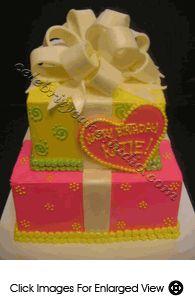 Gir's Birthday Cake #59- Yellow and Pink Present