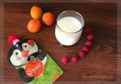 Selbstgemachter Quetschie mit Aprikose, Kirsche und Mandelmus