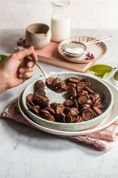 Woman's hand takes a spoonful of the Mini Chocolate Pancake Cereal out of a bowl Chocolate Cereal, Chocolate Pancakes, Pavlova, Delicious Breakfast Recipes, Yummy Food, Cereal Cookies, Baking Cookies, Granola, Sauce Creme