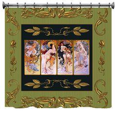 Four Seasons Custom Shower Curtains - Art rendition by Alphonse  Mucha. $78.00, via Etsy.