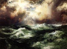 Moonlit Seascape, Thomas Moran. American Hudson River School Painter, born in England (1837 - 1926)