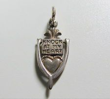 Vintage Sterling Silver Movable Knock At My Heart Door Knocker Charm