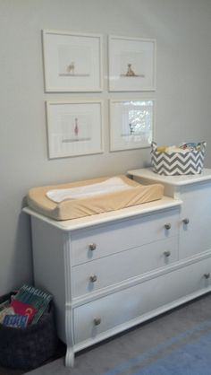 Trash picked changing table painted with anthro knobs. Prints from animalprints.com
