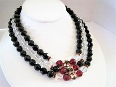 Excited to share the latest addition to my #etsy shop: Lucite Bead Necklace, Faceted Red Clear Beads, Rhinestone Rondelles, 3 Strand Choker