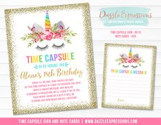 Printable Gold Glitter and Rainbow Unicorn Face Time Capsule Sign and Note Cards | Girls 1st Birthday | Party Decor