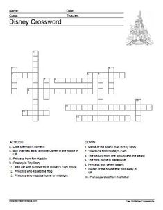 Toy Story Crossword Puzzle & other Disney Printables   All ...