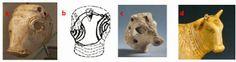 Fig 2. a. Susa, Iran occidentale, ca. 2500 a.C. (1); b. 'Ay, Palestina, EBAIII (2700-2200 a.C.) (1); c. Testa di toro, Palestina, EBAIII (2700-2200 a.C.), Metropolitan Museum of Arts; d. toro Apis, Egitto (664-332 a.C.), Metropolitan Museum of Arts