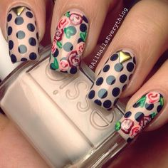 Polka dots and flowers on nude coloured  #nails