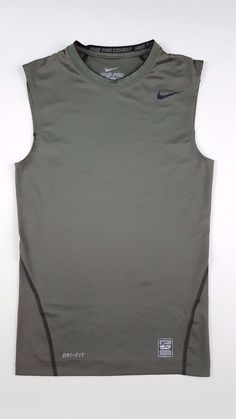 3834bd986494 NIKE Pro COMBAT Compression TANK Top MENS Medium GREEN Dri FIT 269602 Size  MAN
