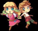 Skyward Sword: Pixel chibi Link and Zelda by Zelbunnii