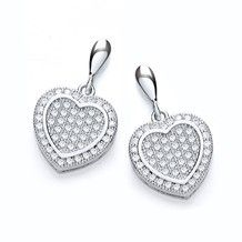 Angelina Silver Heart Drop Earrings by www.j-jaz.com. The perfect I Love You gift for Valentines Day.