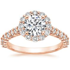 14K Rose Gold Lotus Flower Diamond Ring with Side Stones  from Brilliant Earth
