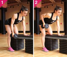 The Workout Plan That'll Help You Drop a Dress Size This Month.  One-Month Slim-Down Plan: single-arm bent-over rows