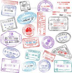 vintage passport stamps