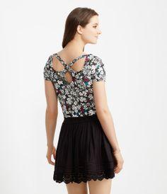 Sheer Scallop Lace Hem Skirt -