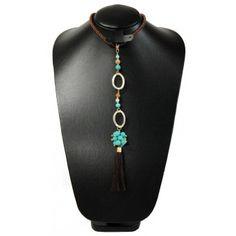 Collar de Moda con Perla, Caucho, Cristal y Cordón de Seda