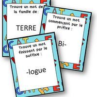 U nnouveau jeu pour travailler en vocabulaire sur les familles de mots, préfixes et suffixes . Le principe est le même que dans le jeu Shabada. On pioche une carte consigne. Il s'agira soit : -...