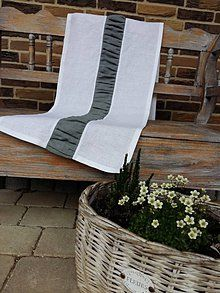 Úžitkový textil - Ľanová štóla Grey & White - 6754593_