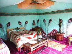 British company Kismet Girls Arabian Tents for Hire with 1950's-inspired peacock background. Found on Google search for Moroccan Peacock Bedrooms.