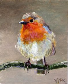Birds painting by Vitec: Robin original oil painting 4x5 in