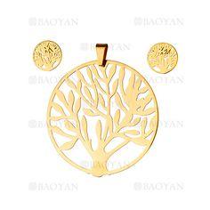 juego colgante y aretes de arbol moda dorado en acero inoxidable para mujer -SSSTG184128