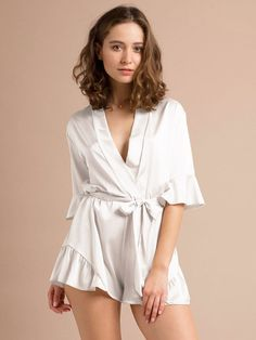 Bridesmaid Romper Bridesmaid Robes Gifts for Bridal Party Romper Champagne Silk Satin Romper Bridal Party Robes Getting Ready Jumpsuit Wedding Rompers, Bridesmaid Rompers, Bridesmaid Get Ready Outfit, Bridesmaid Gifts, Bridesmaids, Trendy Summer Outfits, Cool Outfits, Fashion Outfits, Party Outfits