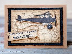 Card by Rachel Greig using Darkroom Door Vintage Planes Rubber Stamp Set and World Map Background Stamp.