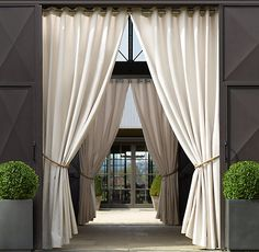 Sunbrella® Drapery; between arches...