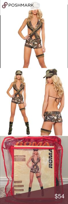 Roma Military Babe Costume Sexy Army girl costume includes:  Bullet garter Romper with faux bullets Hat Belt  🙅🏻No Trades!!!   Costume has never been worn but was tried on in my store for sizing.  Accessories were not taken out of packaging.   Material: polyester / spandex blend Roma Pants Jumpsuits & Rompers