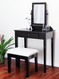 """http://homeforfuture.com/pinnable-post/frenchi-furniute-espresso-finish-wood-3-pc-vanity-set This is a gorgeous brand new vanity at a great price! This is done in an espresso finish and can also be called cappuccino. The seat fabric is tough and is woven tapestry with a wonderful pattern. There's a mirror that is adjustable. This vanity is made well and will last. Isn't it elegant? The bench is included with the vanity.  Vanity - 28"""" Wide x 15"""" D..."""