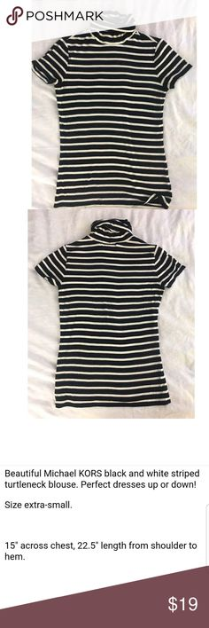 Michael Kors S/S Turtleneck Top Stripes XS See details above. NWOT direct from distributor.   Remember you have great style! Michael Kors Tops Tees - Short Sleeve