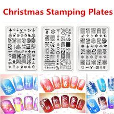3 UNID MR01-03 decoración De Navidad Diseños de Uñas de Arte diseño de uñas de arte Sello Estampado de la Imagen Placas Manicura Plantilla