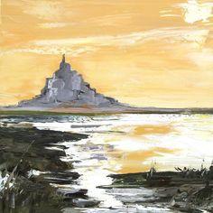Les Mémoires Antérieures : Peinture originale marine du Mont St Michel : Peintures par les-reves-de-minsy